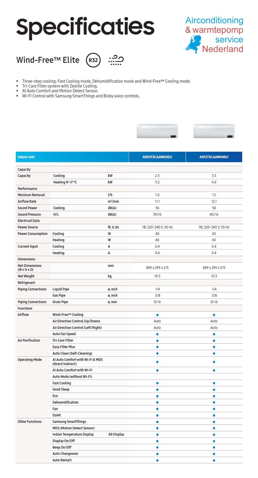 Specificaties Samsung Wind-Free™ Elite - 2,5 kW & 3,5 kW