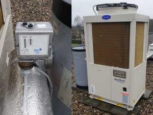 Onderhoud aan een Carrier koud water machine, Stolwijk